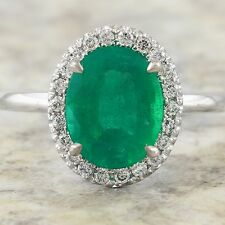 3.50Ct Natural Emerald & Diamond 14K Solid White Gold Ring