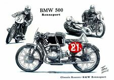 BMW Rennsport 500cc Twin 1950s Racing Racer Motorbike Motorcycle Birthday Card
