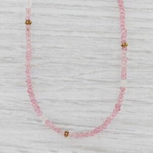 New Nina Nguyen Pink Topaz Bead Necklace Gold Vermeil Sterling Long Adjustable