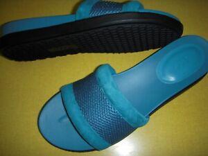 LOGO Lori Goldstein Melanie Mesh Band Slides Footbed Sandals Women's 8 M Aqua ~