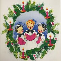 Vintage Early Mid Century Christmas Greeting Card Hot Pink Caroling Kids Volland
