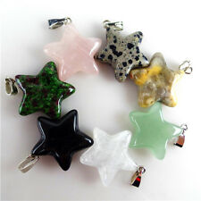 Wholesale 7pcs Mixed Gemstone Carved Star Pendant Bead 25x20x6mm WWJX20