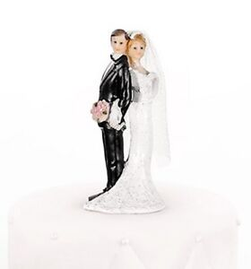 Newlyweds Standing Back to Back Bride and Groom Wedding Cake Topper