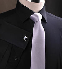 """Grey Super Skinny Tie Stylish Sexy Gray Narrow Mens Suit Fashion Necktie 2"""" Wide"""