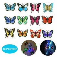 12 Pcs/Set Glowing 3D Butterfly LED Wall Stickers Night Light DIY Home Decor USA