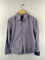 Yd. Men's Long Sleeve Button Up Slim Fit Shirt Size S Blue Check