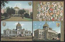 1907 POSTCARD GROUP GOLD U.S CAPITOLS SERIES RARE STATE SEAL CREST CARD INCLUDED