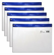 Snopake Blue A5 Strong Clear Plastic Zip Zippi Zippa Bag Folder Wallets - Pack 5