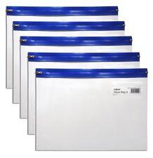 Snopake BLU A5 Forte Chiaro Plastica ZIP Zippi Zippa bag cartella Wallet-confezione 5