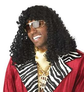 1970's Disco Singer Wig Black Curly Shoulder Length Synthetic Hair Costume Wig