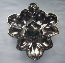 VINTAGE SMOKED GLASS SILVER OVERLAY DIVIDED LEAF SERVING DISH GREAT DETAIL