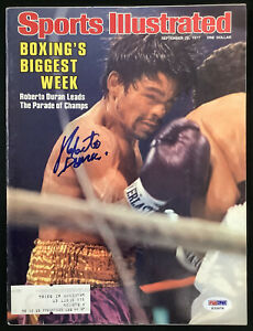 Roberto Duran Signed Sports Illustrated 9/26/77 Boxing Champ Autograph PSA/DNA