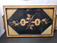 Vintage Asian Framed Bamboo Floral Carved Tray Wall Art Signed 12 x 7.75