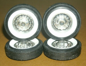 1/18 Scale Miniature Whitewall Tires with 1957 Chevy Bel Air Model Wheel Covers