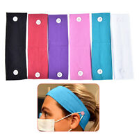 Button Headband Face Cover Holder Wearing Protect Ears Sport Hairband Cotton  Fy