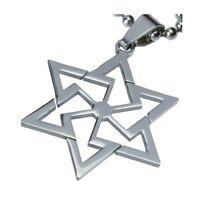Mens Stainless Steel Star of David Magen David Kabbalah Pendant for Necklace