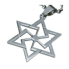 Mens Stainless Steel Star of David Magen David Kabbalah Pendant for Necklace
