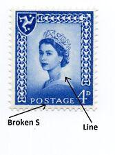 GB QEII 1966 4d SG M3  ~ Error Broken S & Line down stamp ~ MNH