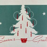 Vintage Mid Century Christmas Greeting Card White Embossed Tree Red Candles
