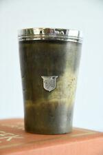 More details for antique horn beaker silver rim