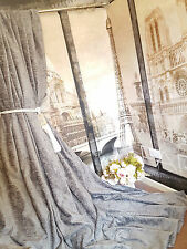 "Huge  Bespoke Silver Grey Chenille Velvet EP52""W 93""L Cotton Lined Curtains"