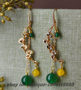 Fashion Women Chinese Yellow*Green Agate/14k Gold Plating Earrings Ear Stud Pair