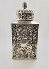 ASPREY WILLIAM COMYNS TEA CADDY STERLING SILVER LONDON 1890 ANTIQUE REPOUSSE