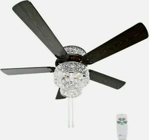 """River of Goods 52"""" Silver Punched Metal and Clear Crystal Ceiling Fan w/ Remote"""