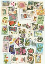 FLOWERS 100 USED DIFFERENT STAMPS