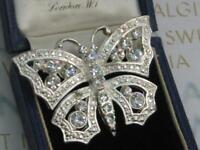 Beautiful SIGNED AVON crystal RHINESTONE set SILVER tone BUTTERFLY brooch