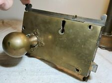 LARGE ANTIQUE ALL BRASS DOOR LOCK WITH CLOVER SHAPED CORNERS AND BRASS DOORKNOB