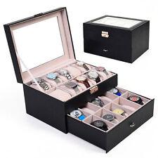 20 Slot Leather Watch Box Display Case Organizer Glass Top Jewelry Storage US HM