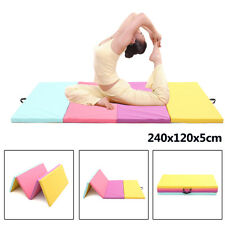 8FT 4 Panels Folding Gymnastics Tumble Floor Mat Fitness Yoga Exercise Gym Pad