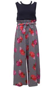 Bonnie Jean Big Girls Split-Shoulder Floral Stripe Paperbag Waist Jumpsuit 7 -16