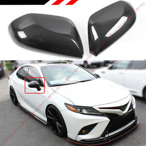 FOR 2018-2021 TOYOTA CAMRY LE SE XLE XSE REAL CARBON FIBER SIDE MIRROR COVER CAP