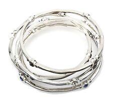 Zest Set of 5 Silver-Look Enamel Grey Blue & Black Bangles with Gems