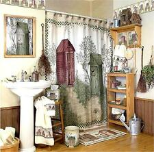 OUTHOUSES Fabric SHOWER CURTAIN by AVANTI Linda Spivey Artwork Country Cabin NEW