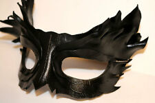Pure Obsidian Feather Mask Handmade Leather Venetian Masquerade black/silver