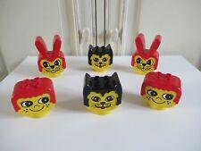 👿 Lego Duplo Tête Jaune Animaux Lapin, Chat, Tête Fille Cheveux Rouge Vintage