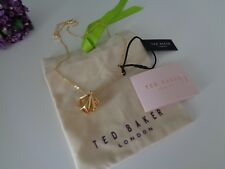 BN Ted Baker Gold 3D Diamond Shape Pendant  Necklace with Gift Pouch