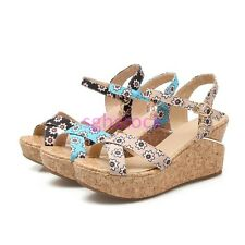 2017 Chic Womens Peep toe Hollow out Slingbacks Wedge Pltform Sandals shoes Size