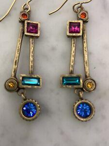 Patricia Locke Signed Pierced Dangle Earrings Gold Tone Crystal Multi Color