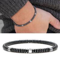Men's 4mm Silver Hematite Disc Beads Gemstone Stretch Bracelet Stacking Jewelry