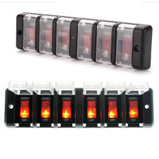 12V 6 Gang Waterproof Rocker Switch Control Panel Red LED for Car Marine Boat