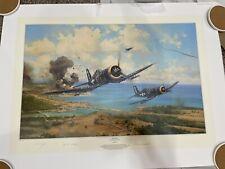 Okinawa by Robert Taylor Aviation Art Print Signed By 2 Corsair Pilots 340/400
