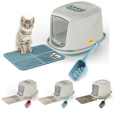 Premium Hooded Kitten Cat Litter Box Tray +Filter +Scoop +Mat Covered Toilet Loo