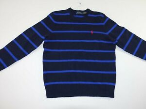Polo Ralph Lauren Men's Crewneck Sweater Small NWT Navy Blue Stripes Lambs Wool