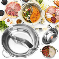 2 Type 38cm Stainless Steel Hot Pot Induction Compatible Cooker Kitchen Cookware