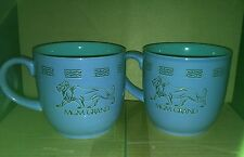 (2) MGM Grand Lion Casino Hotel Coffee Mugs - Blue/Turquoise Colored