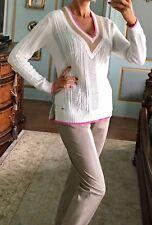 NWT Tommy Hilfiger Women's Sweater Sz S White Cream Pink Beige V Neck
